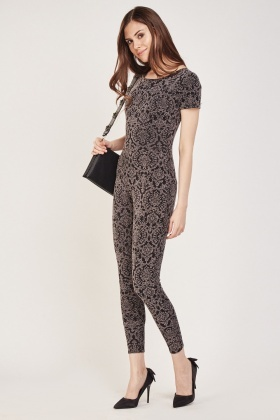 Embossed Damask Print Jumpsuit