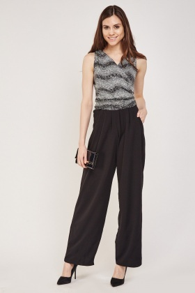 Glittered Contrast Wrap Jumpsuit