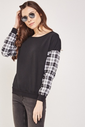 Plaid Sleeve Contrast Sweatshirt
