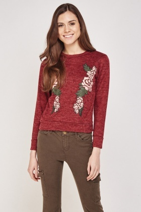 Rose Flower Embossed Sweatshirt