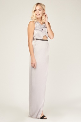 Spiral Keyhole Maxi Wrap Dress