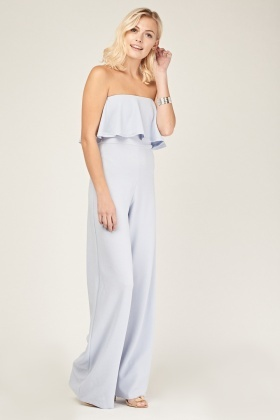Strapless Wide Leg Ruffle Jumpsuit