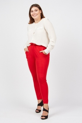 Belted Red Tapered Trousers
