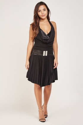 Cowl Neck Front Pleated Dress