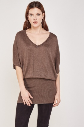 Ribbed Hem Knitted Top