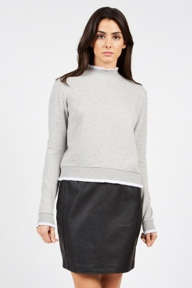 Ruffle Rib Speckled Sweatshirt