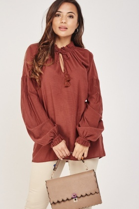 Tie Up Keyhole Smock Blouse
