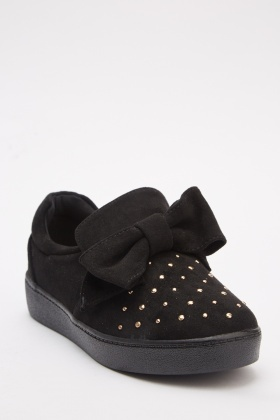 Encrusted Bow Slip On Shoes