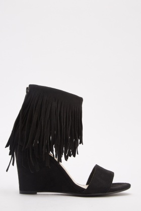Suedette Ankle Fringed Wedge Sandals