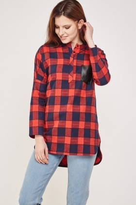 Button Front Long Check Top