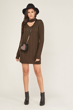 Cable Knit Choker-Neck Jumper Dress