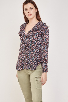 Ditsy Floral Print Ruffle Blouse