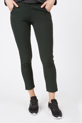 Encrusted Front Skinny Leggings