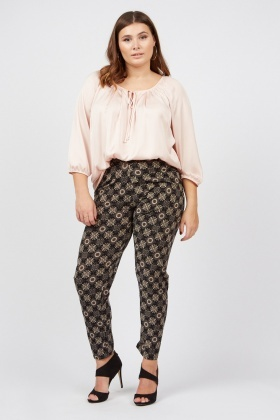 Floral Pattern Skinny Fit Trousers