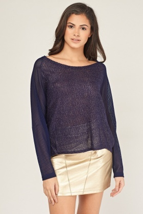 Metallic Thread Insert Knit Top
