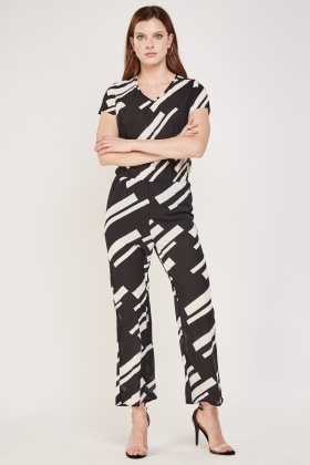 Mono Printed Sheer Jumpsuit