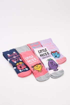 Pack Of 6 Little Miss Ankle Socks Set