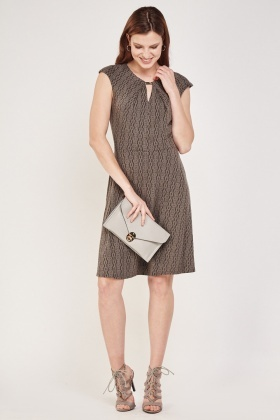 Textured Keyhole Midi Dress