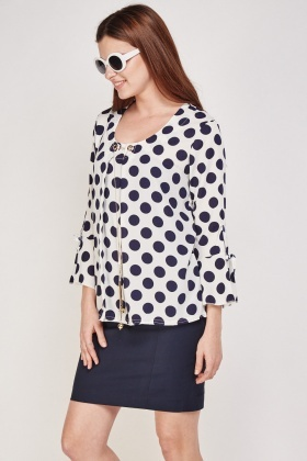 Tie Up Sleeve Polka Dot Blouse