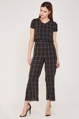 Window Pane Printed Sheer Jumpsuit