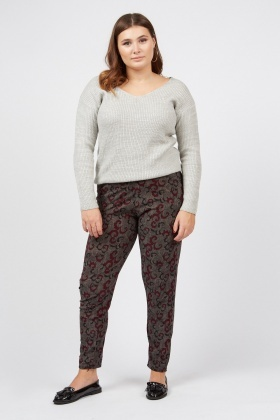 Abstract Pattern Skinny Trousers