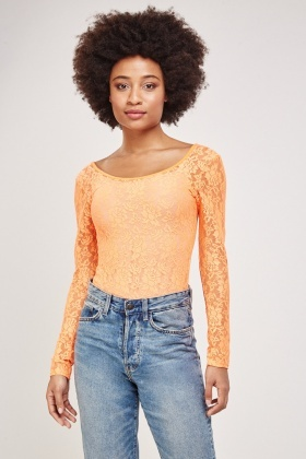 Floral Lace Overlay Bodysuit