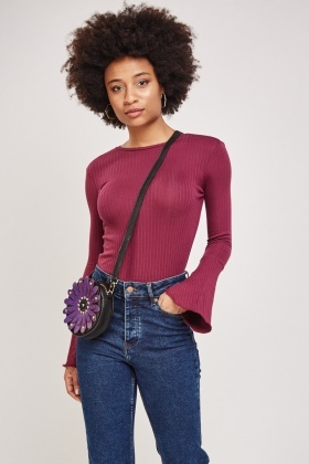 Flute Sleeve Ribbed Top