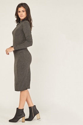 High Neck Midi Basic Dress