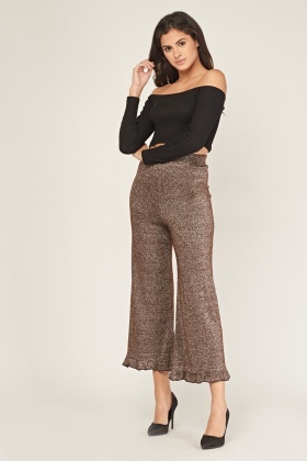 Lurex Frilled Wide Leg Trousers