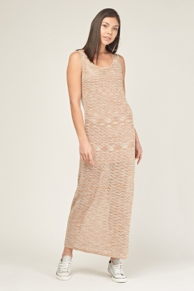 Metallic Insert Loose Knit Maxi Dress