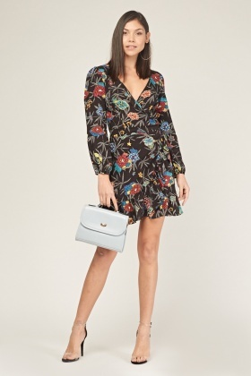 Multi Floral Wrap Dress