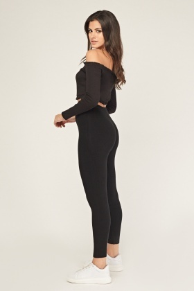 Ribbed Basic Knitted Leggings