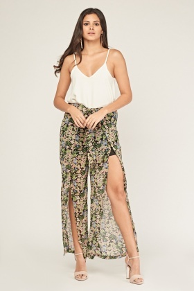 Slit Front Floral Sheer Trousers