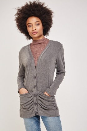 Slouchy Pockets Front Speckled Cardigan