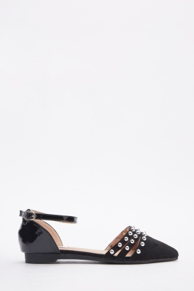 Contrast Studded Court Flat Sandals