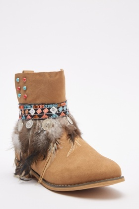 Embroidered Camel Suedette Ankle Boots