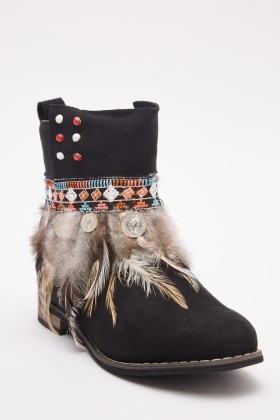 Embroidered Suedette Ankle Boots