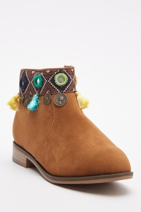 Embroidered Tassel Trim Boots