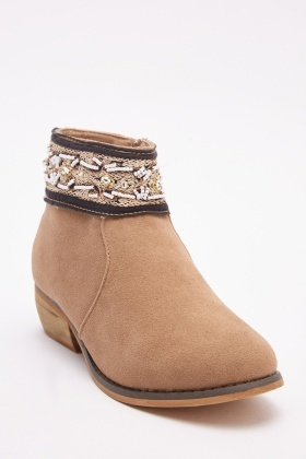 Embroidered Textured Suedette Ankle Boots