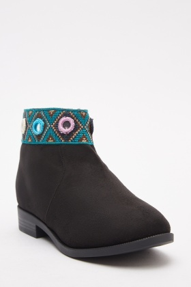 Embroidered Trim Suedette Ankle Boots