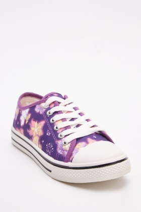 Floral Purple Low Top Trainers