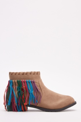 Fringe Overlay Ankle Boots