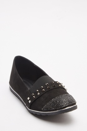 Stud Contrast Slip On Loafers