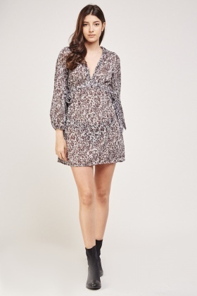 Animal Print Lurex Tea Dress