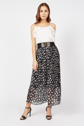 Daisy Print Sheer Maxi Skirt