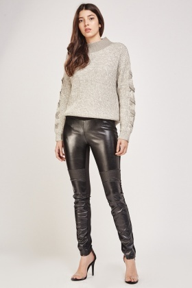 Faux Leather Contrast Biker Leggings