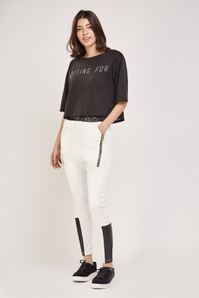 Faux Leather Contrast Trousers