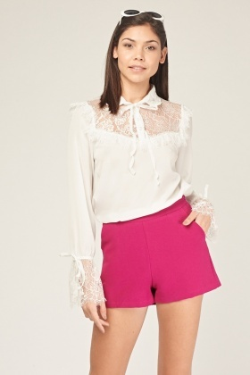Lace Insert Collared Blouse