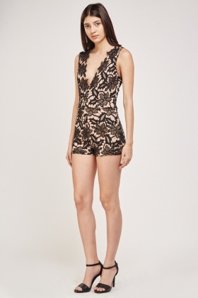 Laser Cut Crochet Playsuit