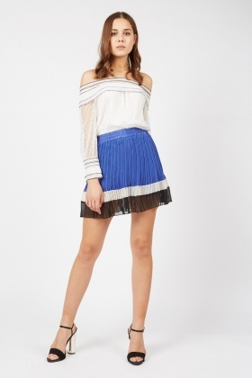 Pleated Colour Block Mini Skirt